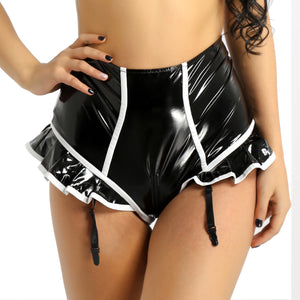 Wet Look Leather Shorts Clubwear Ruffled Zipper Crotch