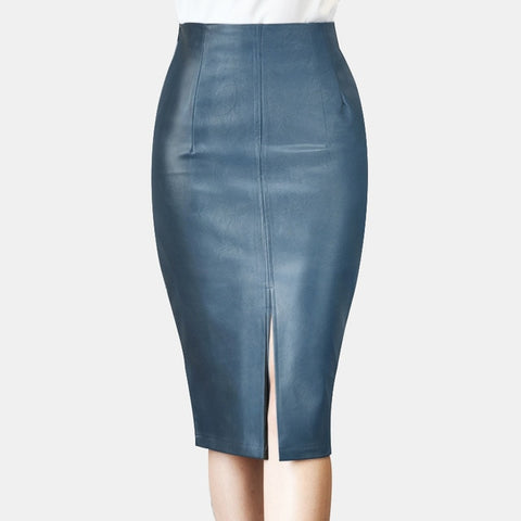 Image of Leather Midi Skirt Hip Front or Back Slit Pencil Skirt