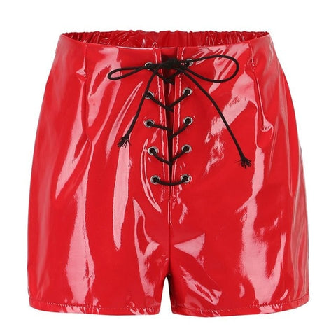 Sexy Pu Leather Women Lace Up Red Black High Waist Shorts