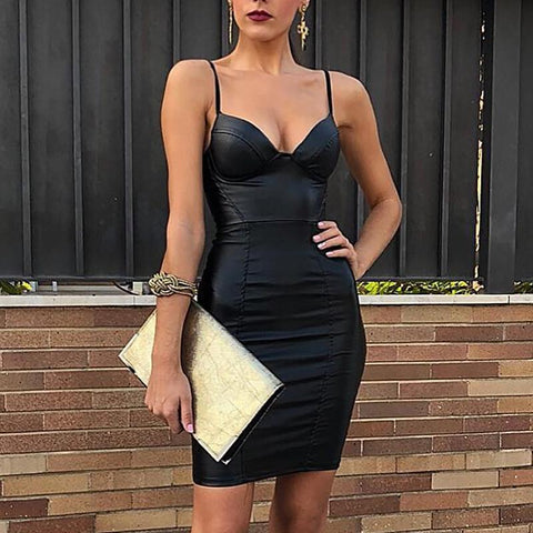Image of Leather Spaghetti Strap Bodycon Sleeveless V neck Club Party Dress