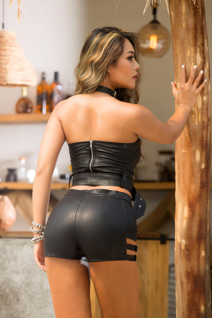 Black Leather Shorts Nightclub Casual Sexy Shorts