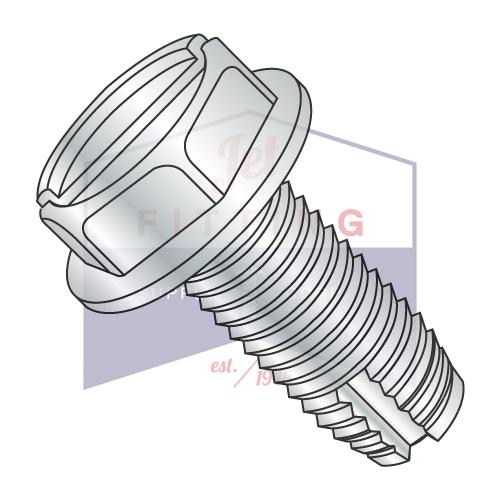 10-24X3/8  Slotted Indented Hex Washer Thread Cutting Screw Type 1 Fully Threaded Zinc And