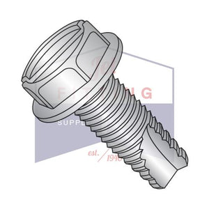 8-32X3/8  Slotted Indented Hexwasher Thread Cutting Screw Type23 Fully Thrd 18-8 Stainless