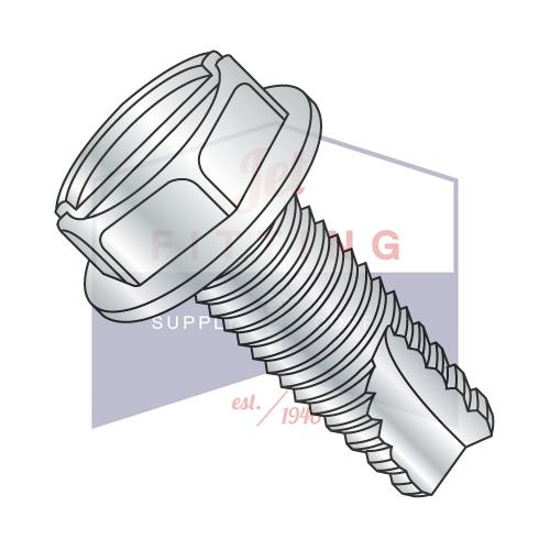 8-32X5/16  Slotted Indented Hex Washer Thread Cutting Screw Type 23 Fully Threaded Zinc