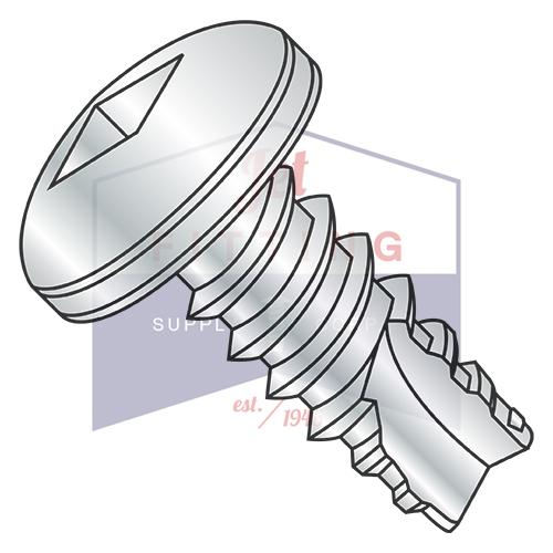 8-18X5/8  Square Drive Pan Thread Cutting Screw Type 25 Fully Threaded Zinc And Bake