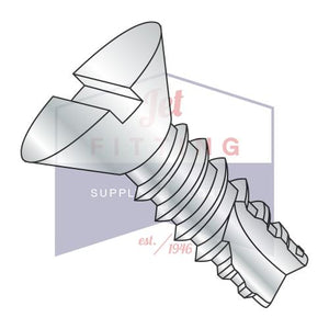 6-20X3/8  Slotted Flat Thread Cutting Screw Type 25 Fully Threaded Zinc