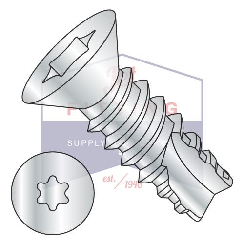 8-18X1  6 Lobe Flat Thread Cutting Screw Type 25 Fully Threaded Zinc And Bake