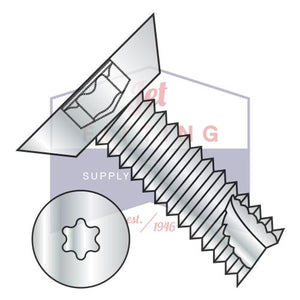 4-24X1/4  6 Lobe Flat Undercut Thread Cutting Screw Type 25 Fully Threaded Zinc And Bake