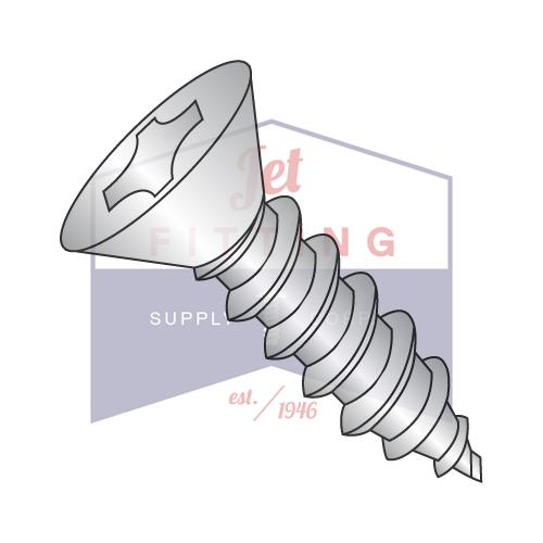 8-18X5/8  Phillips Flat Self Tapping Screw Type AB Fully Threaded 18-8 Stainless Steel