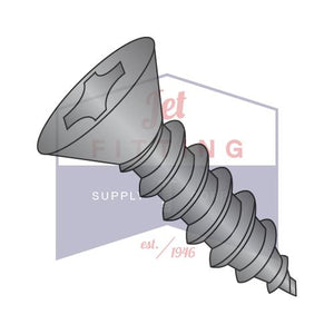 8-18X1/2  Phillips Flat Self Tapping Screw Type AB Fully Threaded Black Zinc And Bake