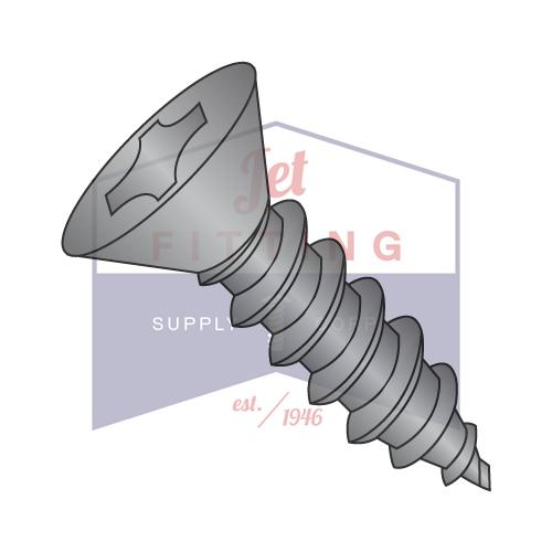 8-18X5/8  Phillips Flat Self Tapping Screw Type AB Fully Threaded Black Oxide