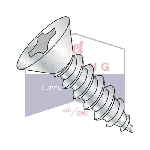 8-18X5/8  Phillips Flat Self Tapping Screw Type AB Fully Threaded Zinc And Bake