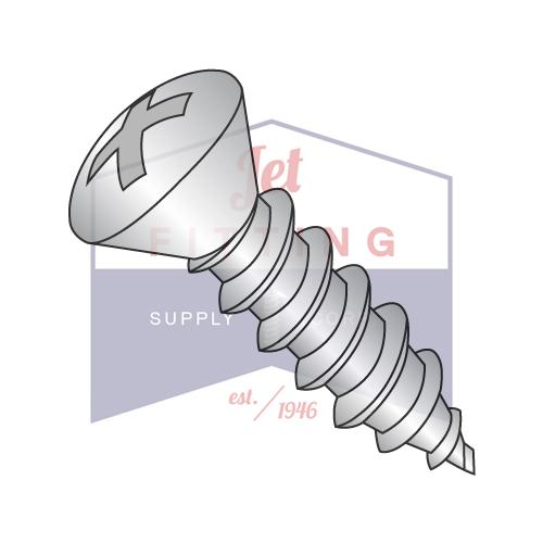 8-18X1/2  Phillips Oval Self Tapping Screw Type AB Fully Threaded 18-8 Stainless