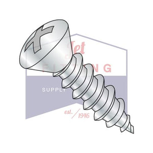 8-18X3/8  Phillips Oval Self Tapping Screw Type AB Fully Threaded Zinc And Bake