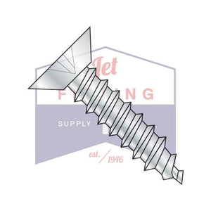 8-18X3/8  Phillips Flat Undercut Self Tapping Screw Type AB Fully Threaded Zinc And Bake