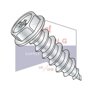 8-18X3/8  Phillips Indented Hex Washer Self Tapping Screw Type AB Fully Threaded Zinc And