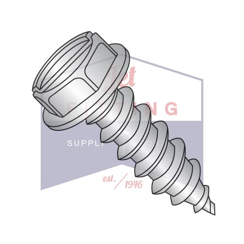 8-18X5/16  Slot Ind Hex Wash Self Tapping Screw Type AB Fully Threaded 18-8 Stainless Ste