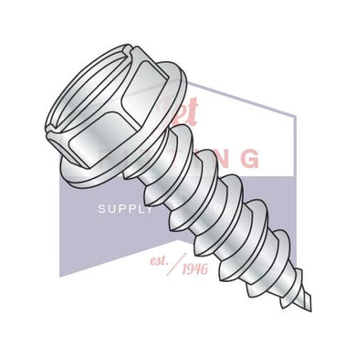 3/8-12X1  Slotted Indented Hex Washer Self Tapping Screw Type AB Fully Threaded Zinc Bake