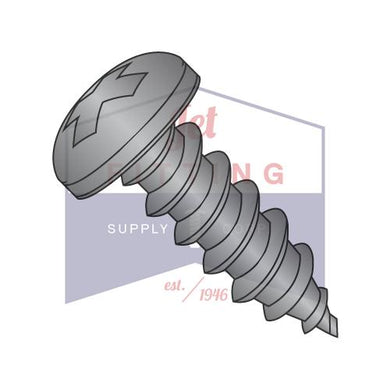 6-18X3/4  Phillips Pan Self Tapping Screw Type A Fully Threaded Black Zinc ANd Bake