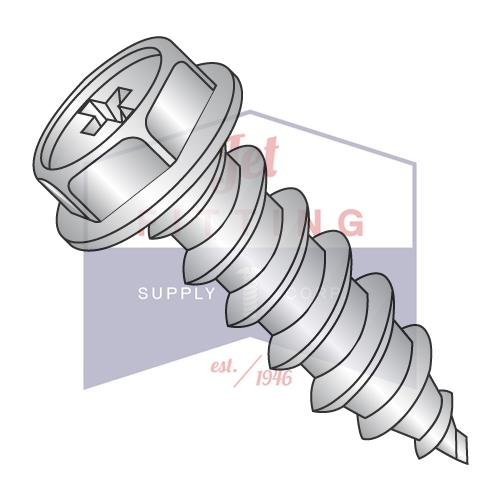 8-15X3/8  Phillips Indent Hexwasher Self Tap Screw Type A Full Thread 18-8Stainless Steel