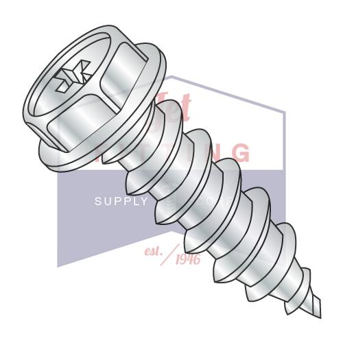 8-15X3/8  Phillips Indented Hex Washer Self Tapping Screw Type A Fully Threaded Zinc And B
