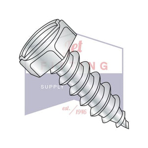 8-15X1/2  Indented Hex Slotted Self Tapping Screw Type A Fully Threaded Zinc And Bake