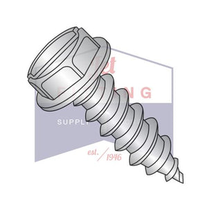 8-15X7/16  Slot Indent Hex Washer Self Tapping Screw Type A Fully Threaded 18-8 Stainless
