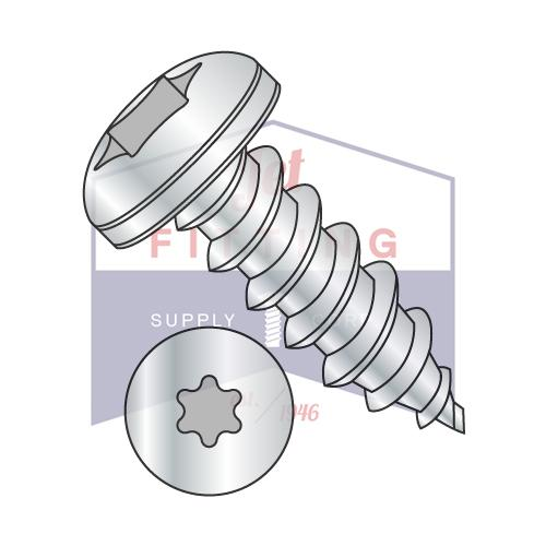 8-15X3/8  6 Lobe Pan Self Tapping Screw Type A Fully Threaded Zinc And Bake