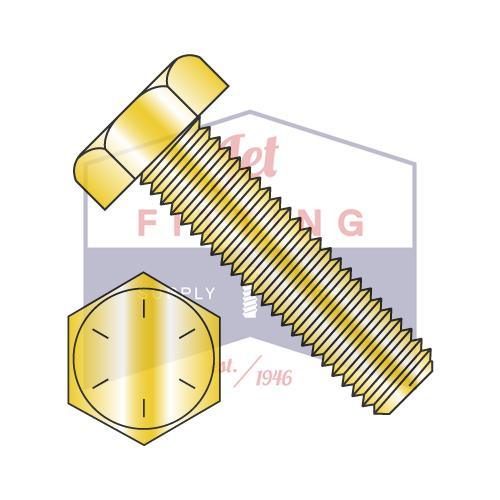 3/4-16X3 1/2  Hex Tap Bolt Steel Grade 8 Fully Threaded Zinc Yellow