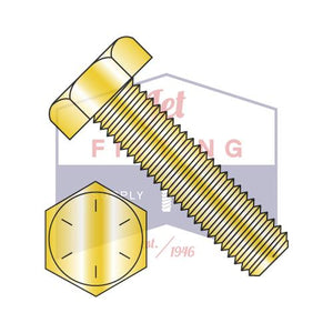 3/4-10X5 1/2  Hex Tap Bolt Steel Grade 8 Fully Threaded Zinc Yellow