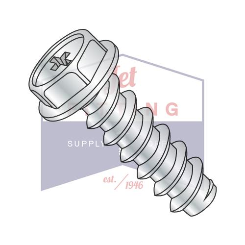 8-18X3/8  Phillips Indented Hex Washer Self Tapping Screw Type B Fully Threaded Zinc And B