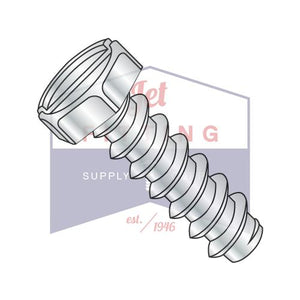 8-18X3/8  Slotted Indented Hex Self Tapping Screw Type B Fully Threaded Zinc
