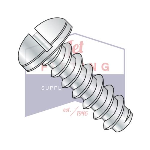 8-18X3/8  Slotted Pan Self Tapping Screw Type B Fully Threaded Zinc
