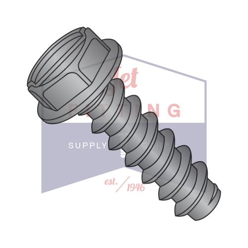 8-18X3/8  Slotted Indented Hex Washer Self Tapping Screw Type B Fully Threaded Black Oxide