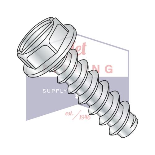 8-18X5/16  Slotted Indented Hex Washer Self Tapping Screw Type B Fully Threaded Zinc