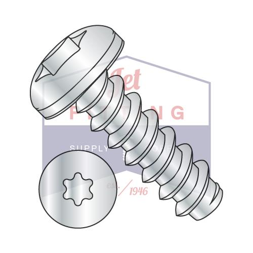 8-18X1/2  6 Lobe Pan Self Tapping Screw Type B Fully Threaded Zinc and Bake