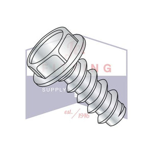 8-18X3/8  Unslotted Indented Hexwasher Self Tapping Screw Type B Full Thread Zinc and Bake
