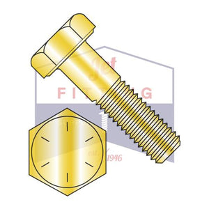 7/8-14X6 1/2  Fine Thread Hex Cap Screw Steel Grade 8 Zinc Yellow