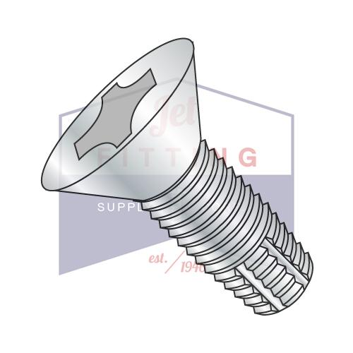 4-40X3/8  Phillips Flat Thread Cutting Screw Type F Fully Threaded Zinc And Bake