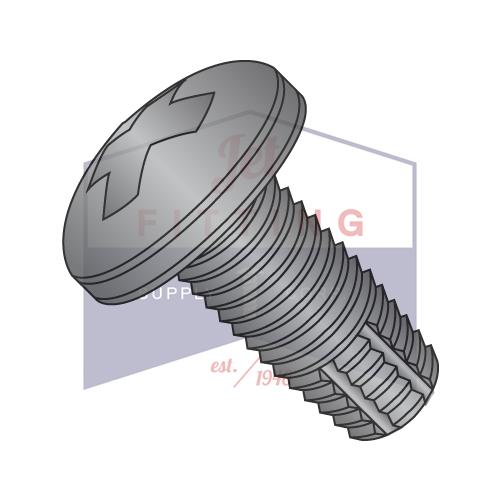 8-32X3/4  Phillips Pan Thread Cutting Screw Type F Fully Threaded Black Zinc and Bake