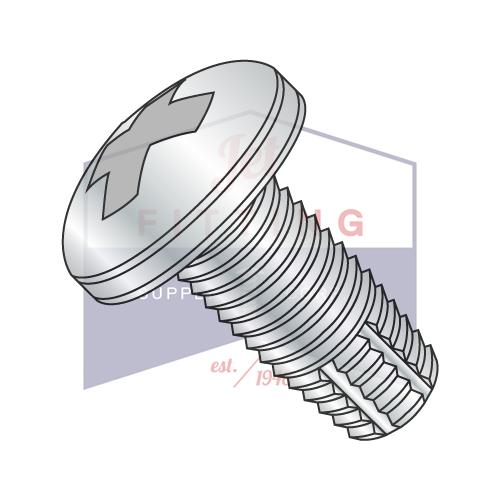 6-32X1/2  Phillips Pan Thread Cutting Screw Type F Fully Threaded Zinc And Bake