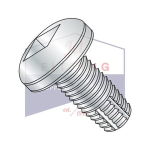 6-32X3/8  Square Drive Pan Thread Cutting Screw Type F Fully Threaded Zinc And Bake