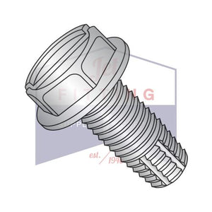 10-24X3/8  Slotted Indented Hex Washer Thread Cutting Screw Type F Fully Thread 18-8 Stain