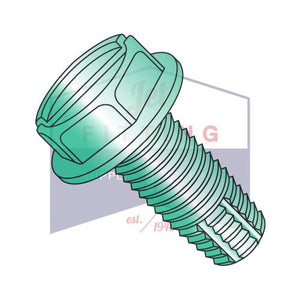6-32X1/4  Slotted Ind Hex Washer Thread Cutting Screw Type F Full Threaded Zinc Bake Green