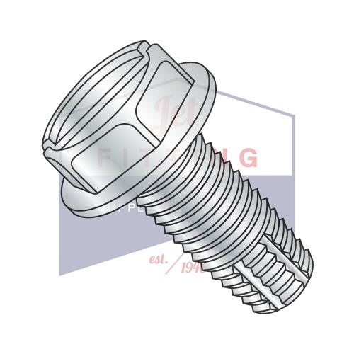 8-32X1 1/2  Slotted Indented Hex Washer Thread Cutting Screw Type F Fully Threaded Zinc And