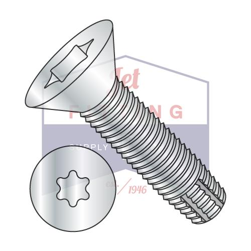 8-32X3/4  Six Lobe Flat Thread Cutting Screw Type F Fully Threaded Zinc And Bake