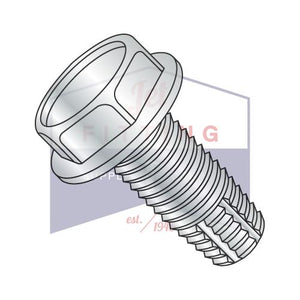 6-32X1 1/2  Unslotted Indented Hex Washer Thread Cutting Screw Type F Fully Threaded Zinc An