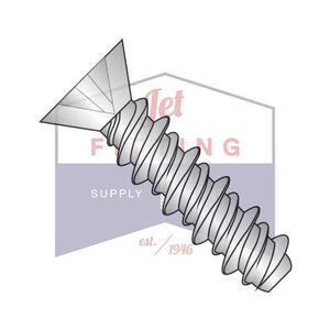 8-18X3/8  Phillips Flat High Low Screw Fully Threaded 18 8 Stainless Steel