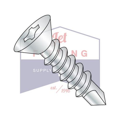 8-18X3  Phillips Flat Self Drilling Screw Full Thread Zinc and Bake