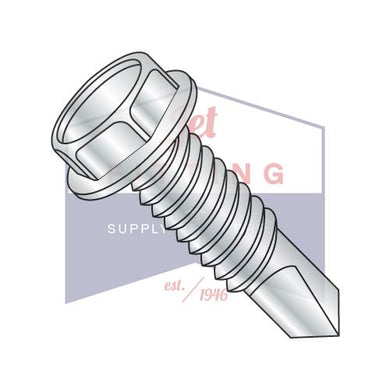 10-32X1  Unslotted Hexwasher Self Drilling Screw Full Thread Machine Screw Zinc and Bake